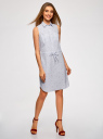 Платье хлопковое на кулиске oodji #SECTION_NAME# (белый), 11901147-4B/45202/1075O - вид 6