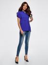 Блузка с короткими рукавами и карманами на пуговицах oodji для женщины (синий), 11400391-2B/24681/7500N - вид 6