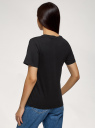 Футболка хлопковая прямого силуэта oodji для женщины (черный), 14701117/47885N/2900N