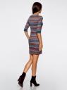 Платье жаккардовое с геометрическим узором oodji #SECTION_NAME# (разноцветный), 14001064-5/46025/7649G - вид 3