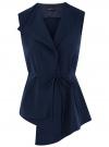 Жилет из струящейся ткани с поясом oodji для женщины (синий), 22305004-1/43859/7900N
