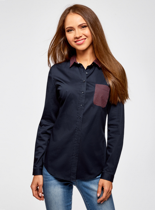 Рубашка базовая с нагрудным карманом oodji #SECTION_NAME# (синий), 11403205-10/26357/7945B