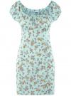 Платье хлопковое со сборками на груди oodji #SECTION_NAME# (бирюзовый), 11902047-2B/14885/6543F