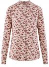 Блузка из вискозы с воротником-стойкой oodji #SECTION_NAME# (бежевый), 21411063-3B/48458/3345F