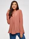 Блузка вискозная А-образного силуэта oodji #SECTION_NAME# (розовый), 21411113B/42540/4B02N - вид 2