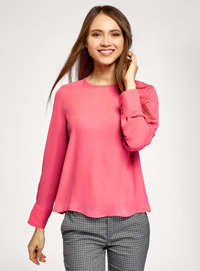 Блузка свободного силуэта с вырезом-капелькой на спине oodji #SECTION_NAME# (розовый), 11411129/45192/4100N