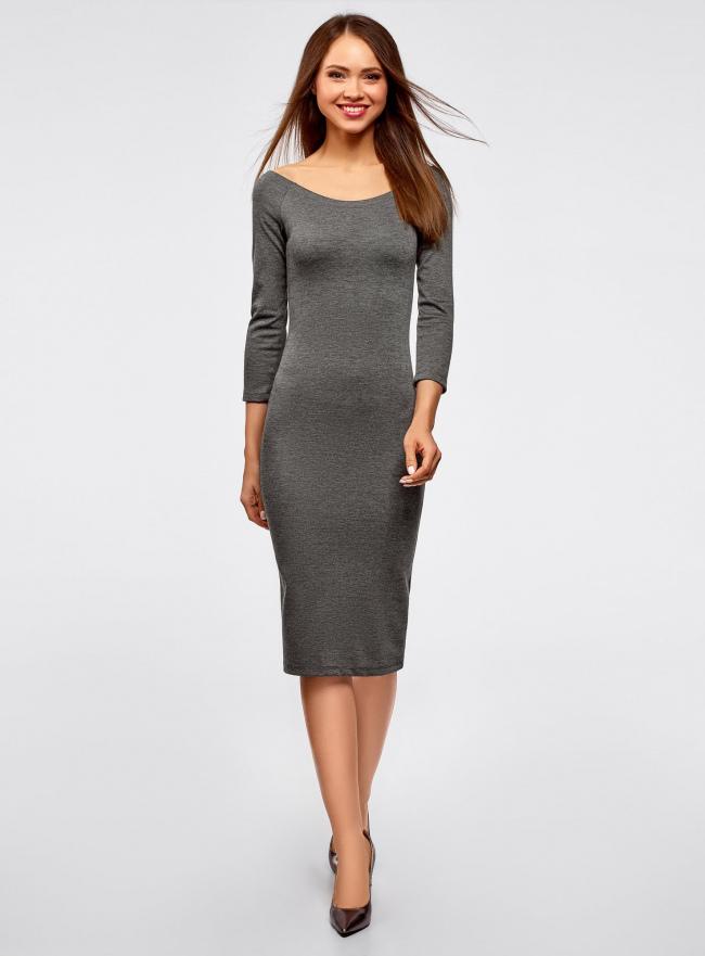Платье облегающее с вырезом-лодочкой oodji #SECTION_NAME# (серый), 14017001-5B/46944/2501M