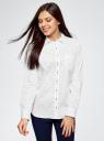 Рубашка базовая из хлопка oodji #SECTION_NAME# (белый), 13K03007B/26357/1029O - вид 2