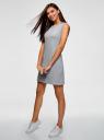 Платье трикотажное с вышивкой oodji для женщины (серый), 14005144-1/46149/2000Z