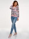Свитшот принтованный с круглым вырезом oodji для женщины (розовый), 14807021-1/46919/5423O - вид 6