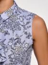 Топ из струящейся ткани с жабо oodji для женщины (синий), 24911001-1B/48854/7012F - вид 5