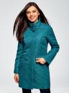 Пальто прямого силуэта из фактурной ткани oodji #SECTION_NAME# (бирюзовый), 10104043/43312/6C00N - вид 2