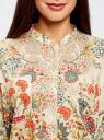 Блузка свободного силуэта с цветочным принтом oodji #SECTION_NAME# (бежевый), 21411109/46038/3319F - вид 4
