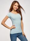 Комплект футболок с вырезом-капелькой на спине (3 штуки) oodji #SECTION_NAME# (синий), 14701026T3/46147/7000N - вид 2