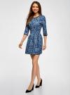 Платье трикотажное со складками на юбке oodji #SECTION_NAME# (синий), 14001148-1/33735/7970E - вид 6