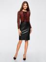 Платье комбинированное с кружевным верхом и юбкой из искусственной кожи oodji для женщины (красный), 21913014/45945/2949B