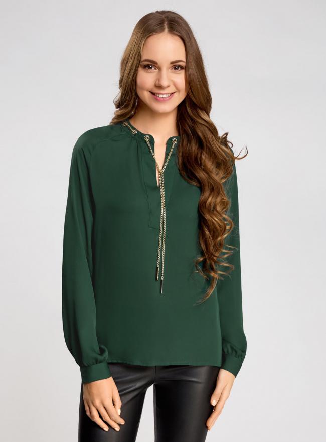 Блузка из струящейся ткани с металлическим украшением oodji #SECTION_NAME# (зеленый), 21414004/45906/6900N