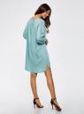 Платье вискозное с вышивкой и декоративными завязками oodji #SECTION_NAME# (бирюзовый), 21914003/33471/7300N - вид 3