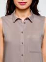 Топ вискозный с рубашечным воротником oodji для женщины (серый), 14911009B/26346/2300N