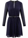 Платье из струящейся ткани с ремнем oodji для женщины (синий), 21913017/17358/7529A