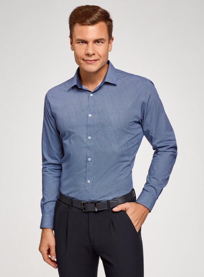 Рубашка приталенная в мелкий рисунок oodji #SECTION_NAME# (синий), 3L110241M/19370N/7975G