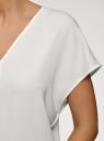 Блузка из струящейся ткани с коротким рукавом oodji для женщины (белый), 11405149/48728/1200N