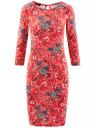 Платье трикотажное с вырезом-капелькой на спине oodji #SECTION_NAME# (красный), 24001070-5/15640/4530F
