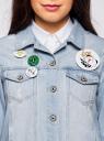 Куртка джинсовая со значками oodji #SECTION_NAME# (синий), 11109031/46654/7000W - вид 4