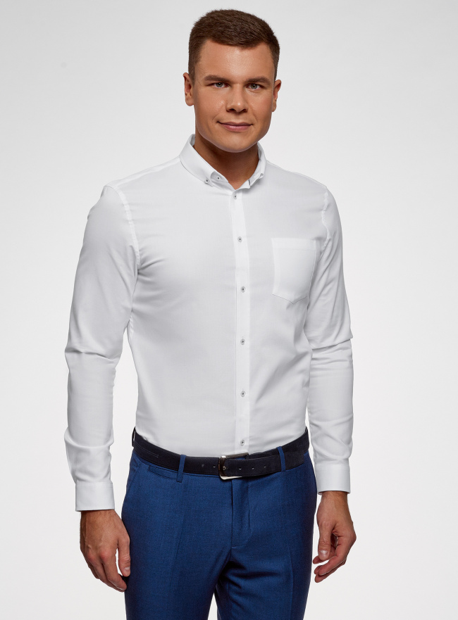 Рубашка хлопковая приталенная oodji #SECTION_NAME# (белый), 3B110007M/34714N/1000N
