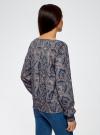 Блузка принтованная с вырезом-лодочкой oodji #SECTION_NAME# (синий), 21400405/26546/7533E - вид 3