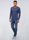 Пуловер базовый с V-образным вырезом oodji #SECTION_NAME# (синий), 4B212007M-1/34390N/7500M - вид 6