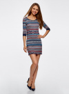 Платье жаккардовое с геометрическим узором oodji для женщины (синий), 14001064-5/46025/7949J - вид 2