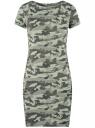 Платье приталенное с металлическим декором на плечах oodji #SECTION_NAME# (зеленый), 14001177/18610/6062O