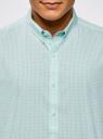 Рубашка клетчатая с коротким рукавом oodji #SECTION_NAME# (бирюзовый), 3L210030M/44192N/106CC - вид 4
