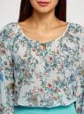 Блузка принтованная с завязками oodji #SECTION_NAME# (слоновая кость), 21418013-2M/17358/1275E - вид 4