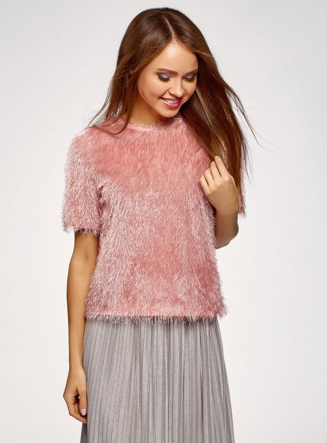Блузка ворсистая с вырезом-капелькой на спине oodji #SECTION_NAME# (розовый), 14701049/46105/4B01N