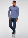 Пуловер базовый с V-образным вырезом oodji #SECTION_NAME# (синий), 4B212007M-1/34390N/7401M - вид 6
