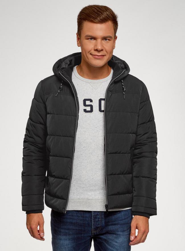 Куртка утепленная с капюшоном oodji #SECTION_NAME# (черный), 1B112006M-1/39877N/2900N