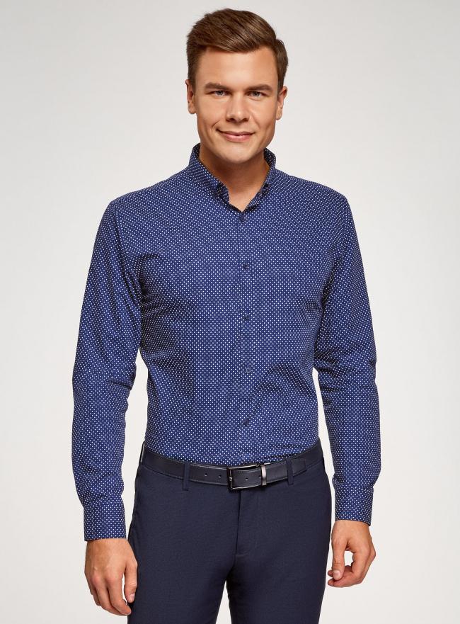Рубашка приталенная с пуговицами на воротнике oodji #SECTION_NAME# (синий), 3L110247M/44425N/7910D