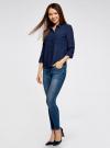 Блузка из струящейся ткани с регулировкой длины рукава oodji #SECTION_NAME# (синий), 11403225-1B/45227/7900N - вид 6