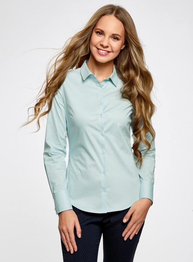 Рубашка базовая из хлопка oodji #SECTION_NAME# (синий), 11403227B/14885/7000N
