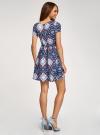 Платье принтованное из вискозы oodji для женщины (синий), 11900191/26346/7970E - вид 3