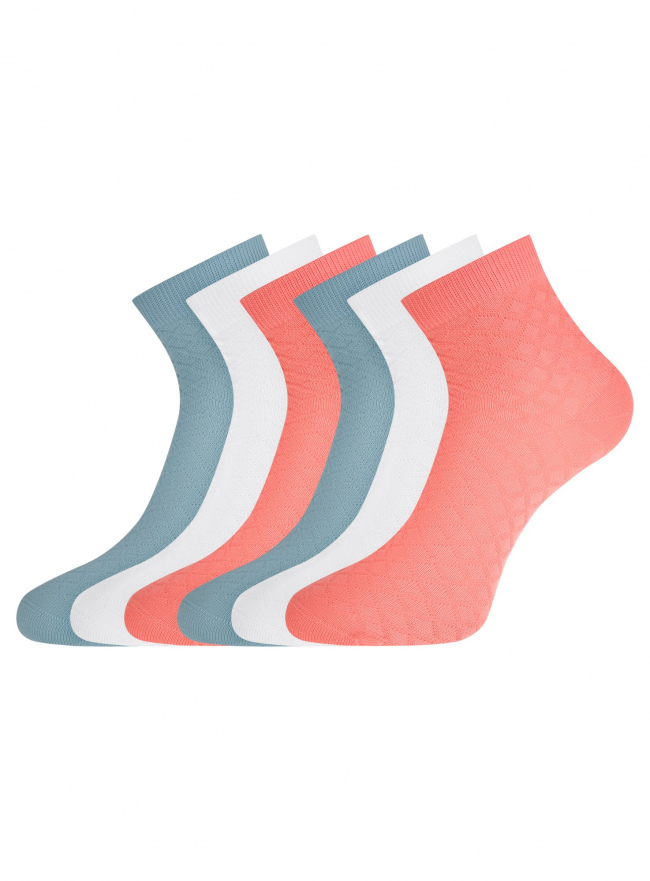 Комплект из шести пар хлопковых носков oodji для женщины (разноцветный), 57102711-1T6/48022/5