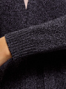 Кардиган меланжевый с капюшоном oodji для женщины (черный), 63207195/49408/2925M