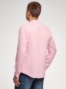 Рубашка льняная без воротника oodji #SECTION_NAME# (розовый), 3B320002M/21155N/4001N - вид 3