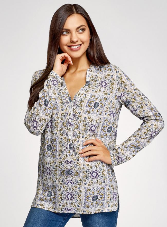 Блузка принтованная из вискозы oodji для женщины (разноцветный), 21412143-1/42127/1279E