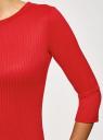 Платье в рубчик с рукавом 3/4 oodji для женщины (красный), 14001196/46412/4500N
