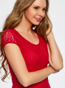 Платье приталенное кружевное oodji #SECTION_NAME# (красный), 14001133-1/35553/4500N - вид 4