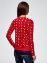 Свитшот с новогодним принтом oodji для женщины (красный), 14801045-1/46168/4512K