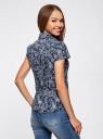 Блузка принтованная из легкой ткани oodji #SECTION_NAME# (синий), 21407022-9/12836/7974E - вид 3